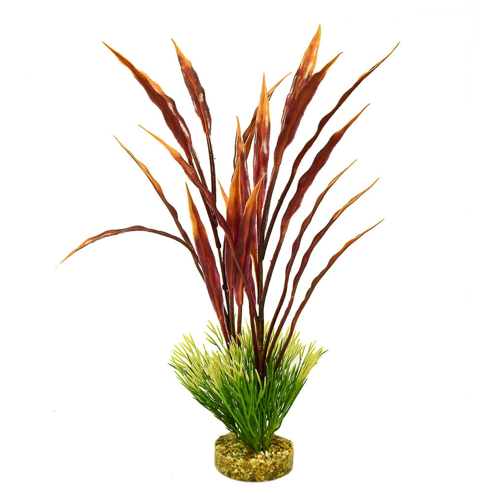 CB-2001-RD-GR - ColorBurst Florals® Gravel Base Plant - Atoll Grass Plant - Red/Green
