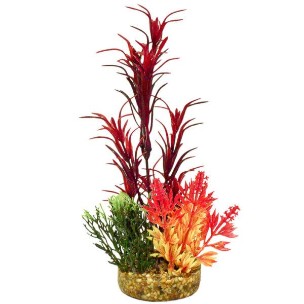 CB-2011-RD - ColorBurst Florals® Gravel Base Plant - Sea Grass Bouquet Plant - Red