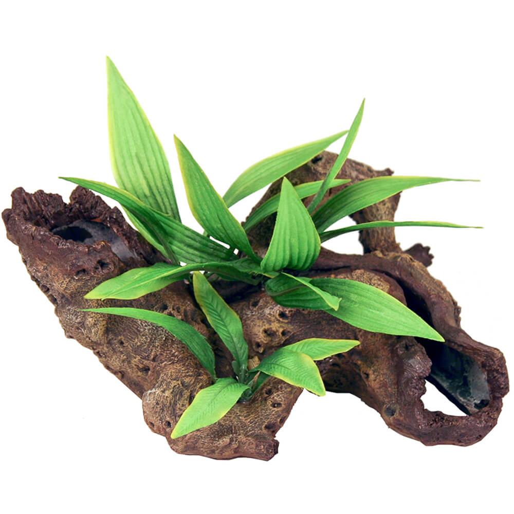 EE-1008 - Exotic Environments® Mopani Wood w/ Silk Style Plants - Small
