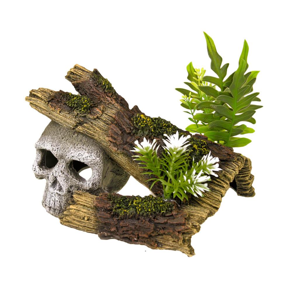 EE-1019 - Exotic Environments® Jungle Skull Hideaway w/ Plants