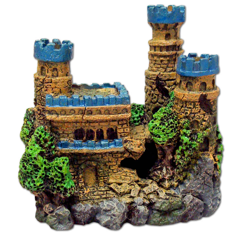EE-138 - Exotic Environments® Medieval Castle With Metallic Blue Tops & Tall Towers - Mini