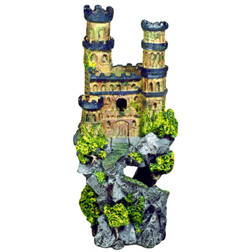 EE-143 - Exotic Environments® Medieval Castle With Metallic Blue Towers On Rocky Cliff - Tall