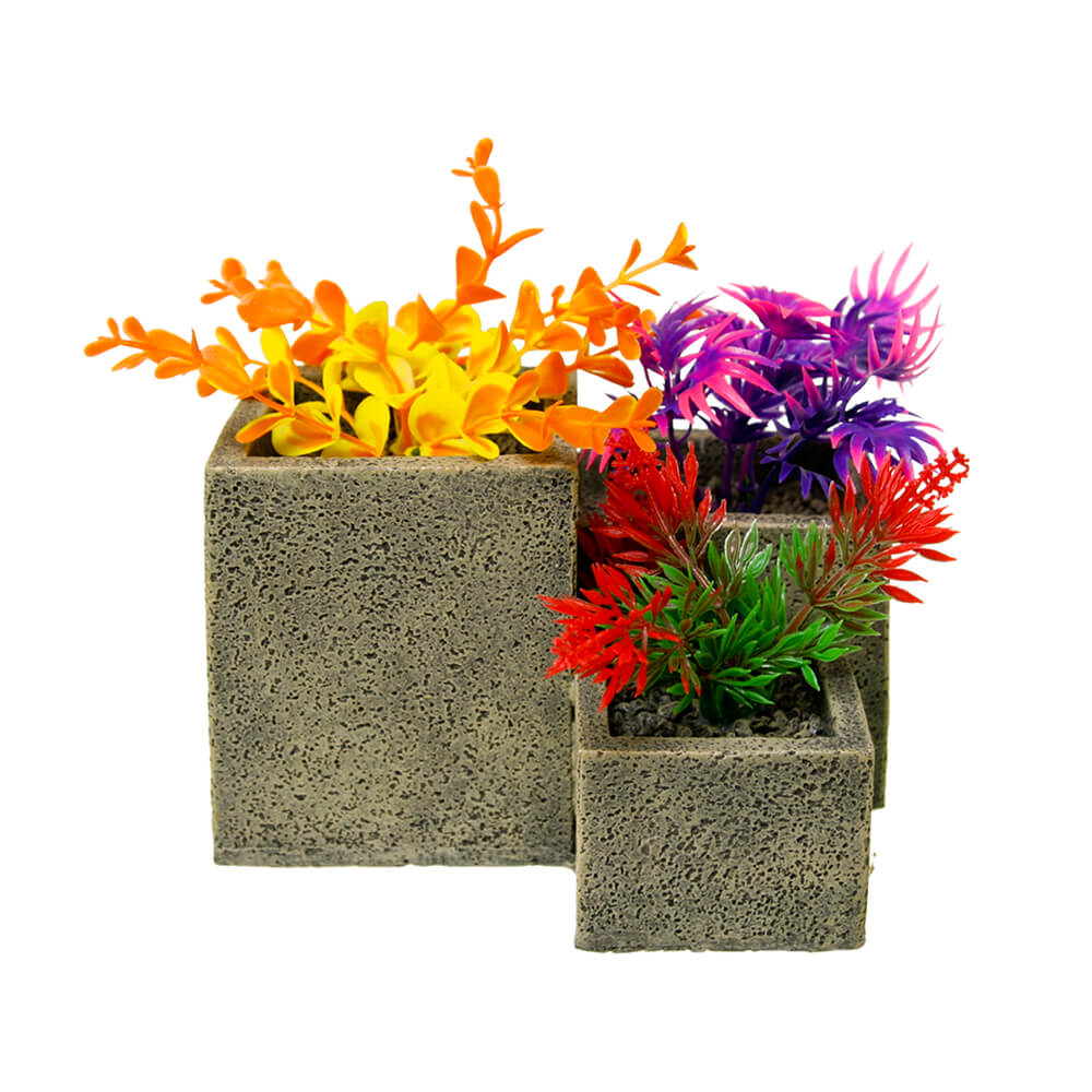 EE-1751 - Exotic Environments® Square Flower Pot Garden - Stone Colorful