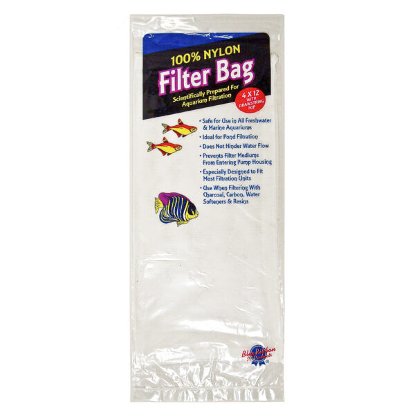 "NYL-L - Aquarium Supplies - Nylon Filter Bag Large 4"" x 12"" With Draw String"