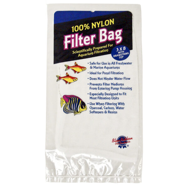"NYL-S - Aquarium Supplies - Nylon Filter Bag Small 3"" x 8"" With Draw String"