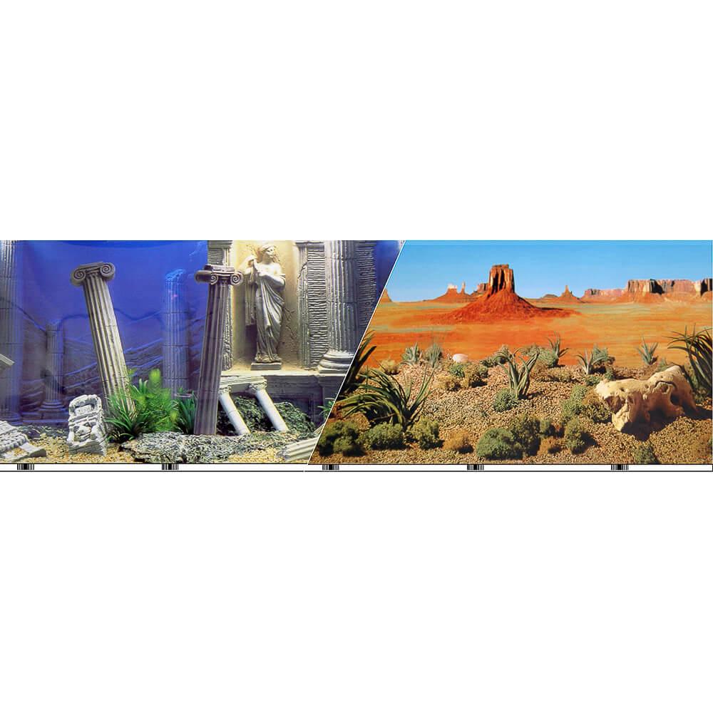 """VSB-10-19 - Vibran-Sea® Double Sided Background 19"""" - Desert/Underwater Atlantis"""
