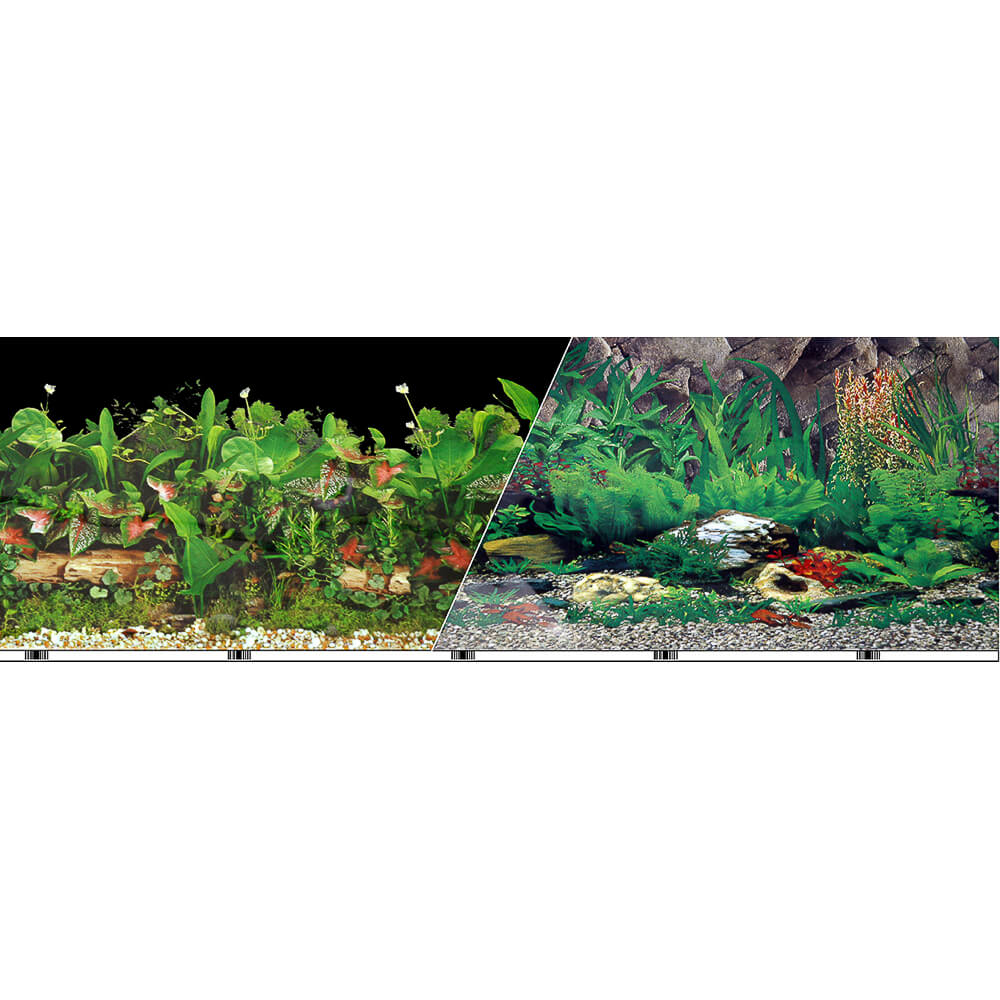 "VSB-13-12 - Vibran-Sea® Double Sided Background 12"" - Freshwater Black/Tropical Freshwater"